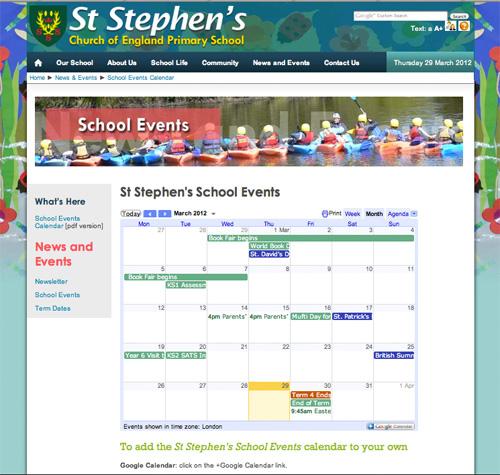 Google Calendar Embedded on a School Website
