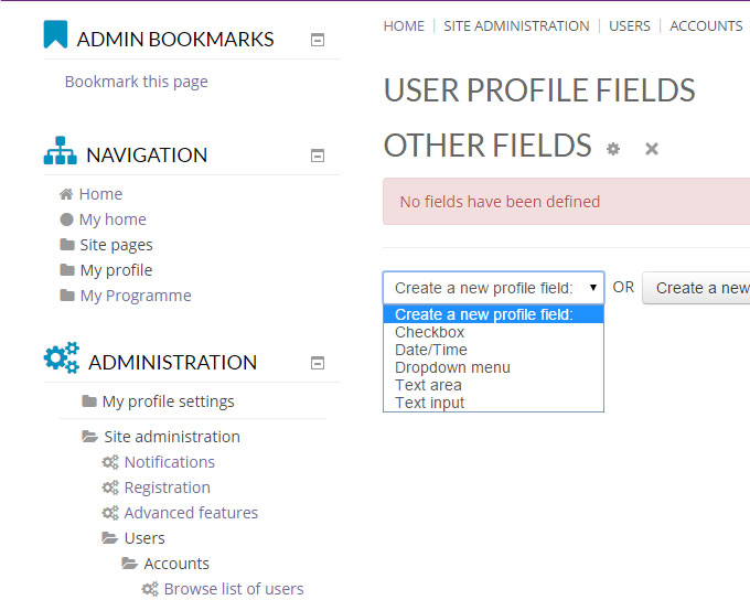 Create A New Profile Field or Profile Category