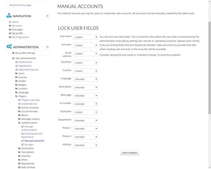 Lock User Profile Fields in Moodle