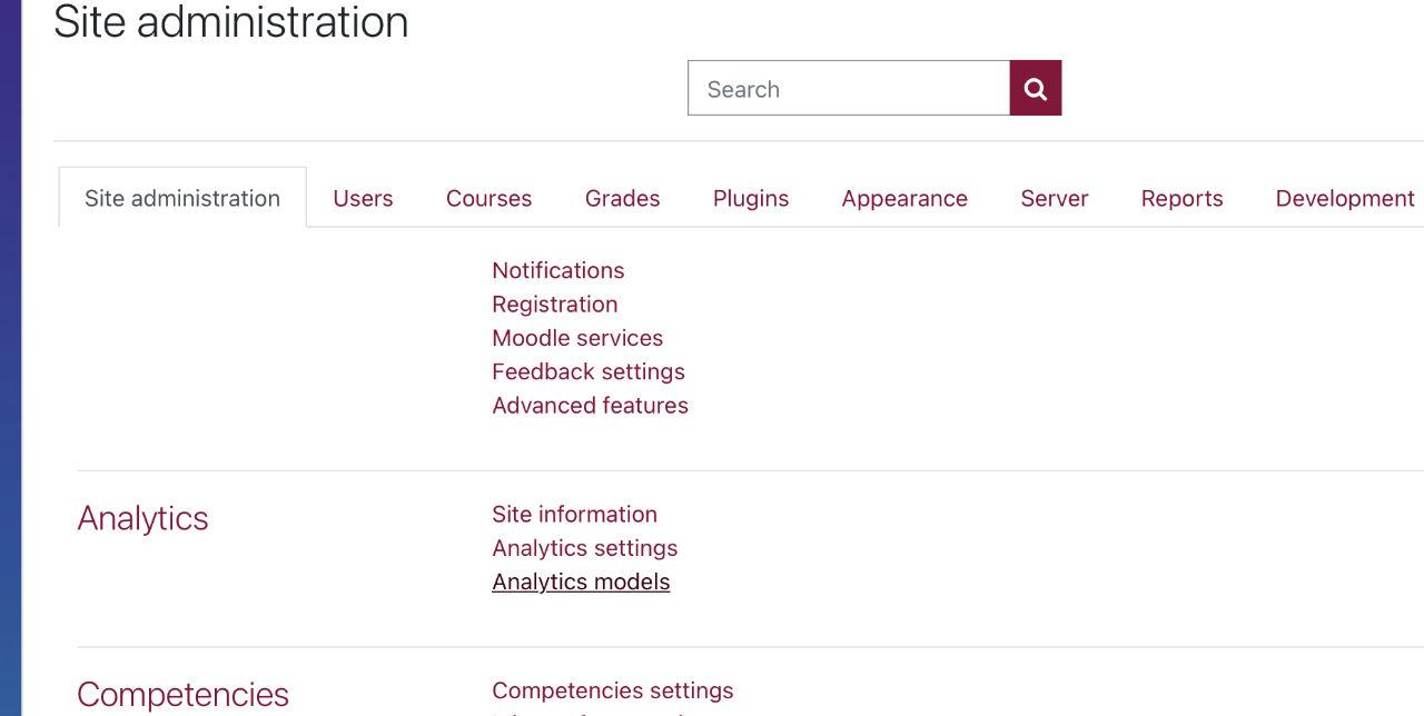 Site Administration Analytics Analytics Models