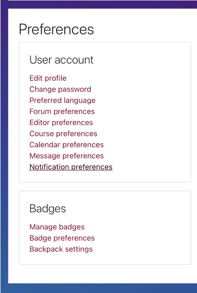 User Preferences-Notifications